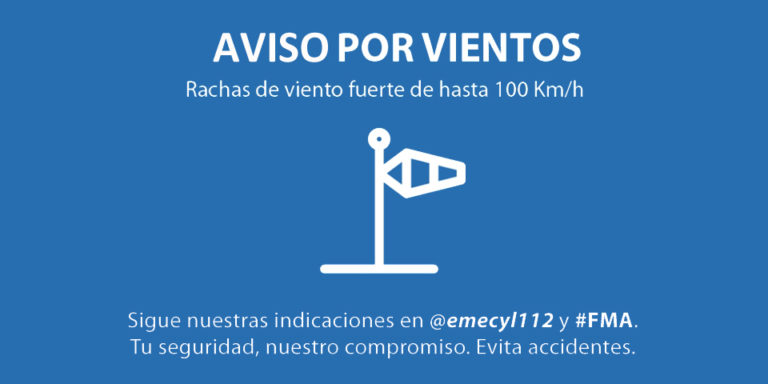 Aviso por fuertes rachas de viento durante las próximas horas en Castilla y León