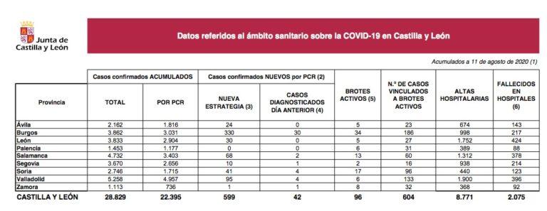 Castilla y León notifica hoy 599 nuevos casos y 96 brotes de COVID-19