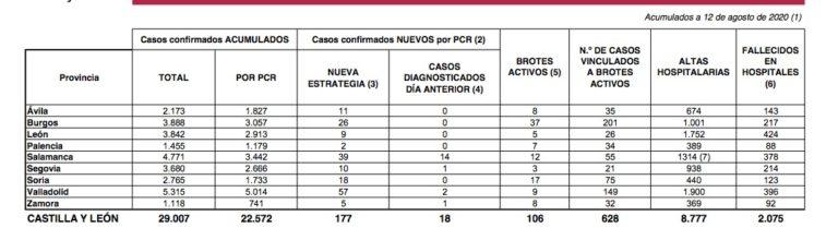 Castilla y León notifica hoy 177 nuevos casos de la enfermedad COVID-19