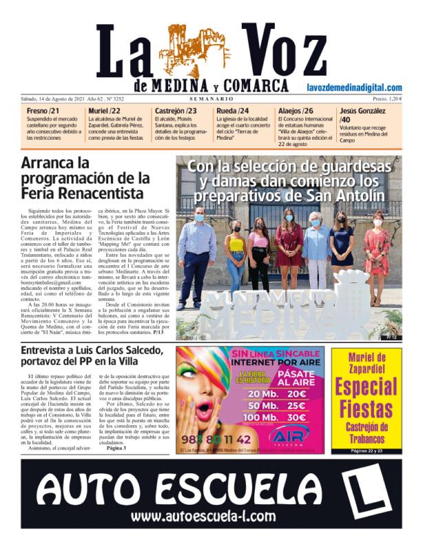 La portada de La Voz de Medina y Comarca (14-08-2021)