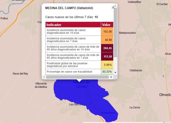 Medina del Campo aumenta dos positivos semanales y sube la incidencia acumulada